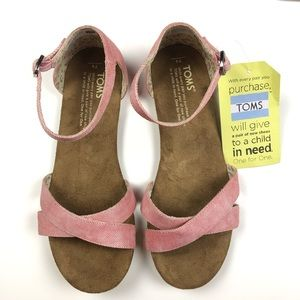 Toms Youth Correa Sandal Coral Washed Twill Shoes